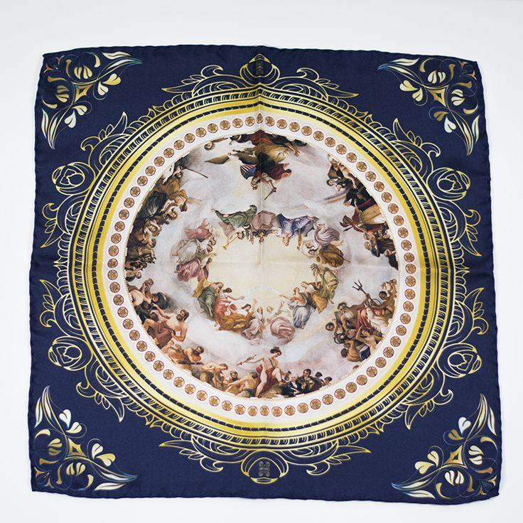 Apotheosis of Washington pocket square #pañuelodebolsillo #pocketsquare #menswear #silksquare #dome #blueandgold #handrolled #handfinished