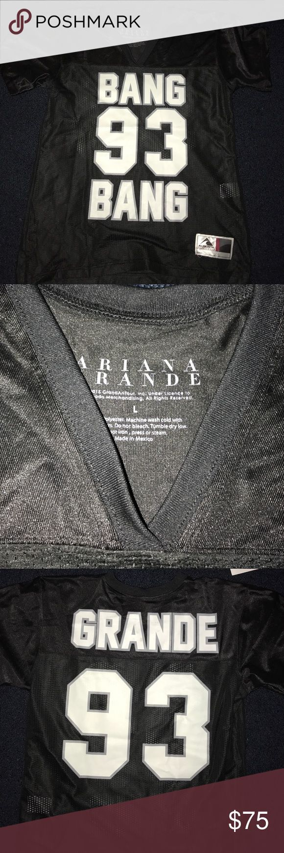 Ariana Grande Jersey Bang Bang Honeymoon Tour NEW Brand new item purchased from the Honeymoon tour- never worn!!! Size unisex large, would also fit anyone who's a medium!! GRANDE 93!! Real jersey material/100% authentic and official. I am selling for slightly less than what I purchased it for!!! Take it home today (: Bravado Tops