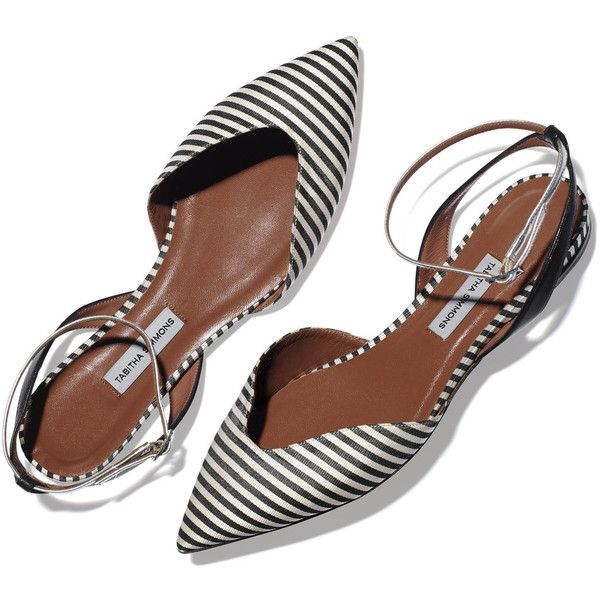 striped pointed toe flat ❤ liked on Polyvore featuring shoes, flats, flat footwear, pointy-toe flats, pointy toe flat shoes, pointed toe flats and stripe shoes