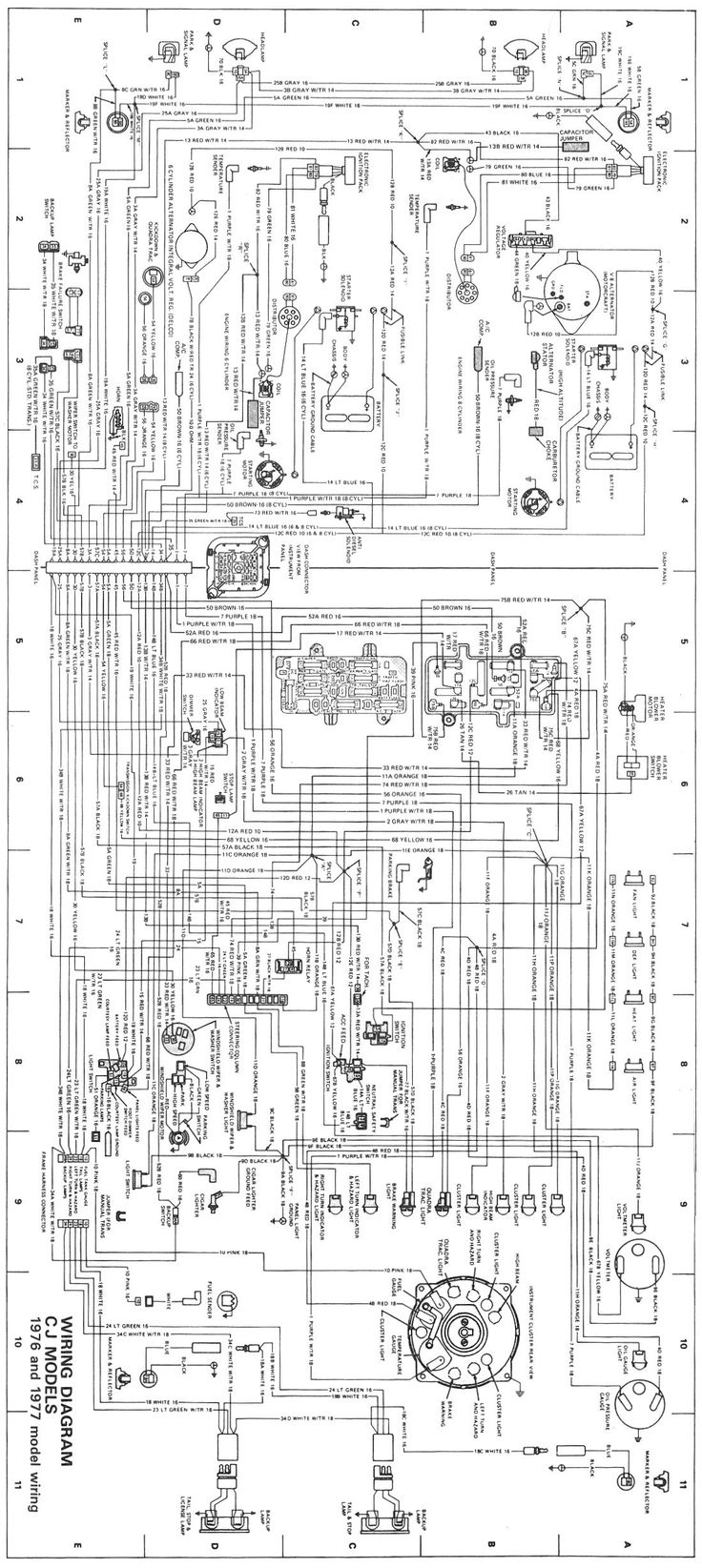 CJWiringDiagram19761977jpg 1100 2459 pixels – Jeep Cj7 Wiper Motor Wiring Diagram