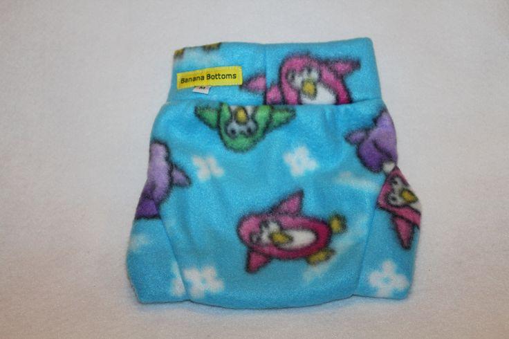 3090151 This medium  dancing penguins fleece soaker will soon be on www.etsy.com/shops/bananabottoms