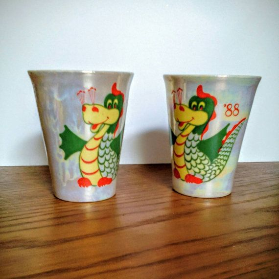 Small Vintage Russian cups or mugs with Draco Shot by LucyMarket