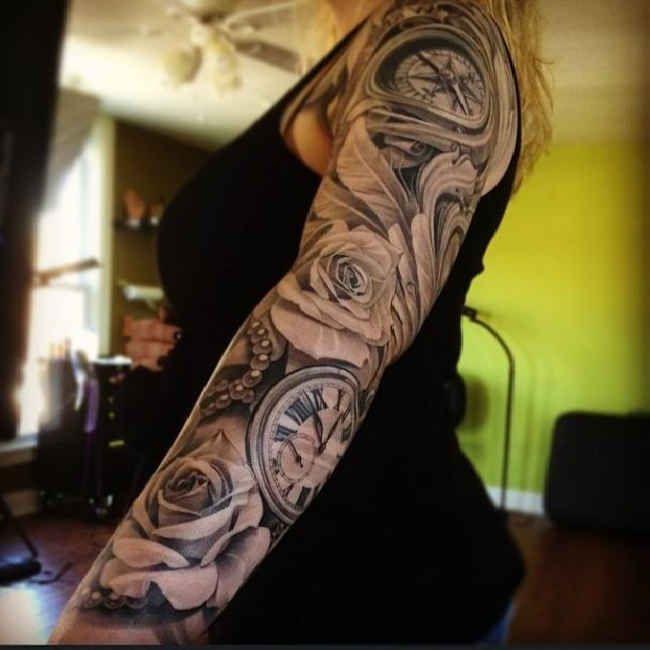 Tattoo Clock, Compass Flowers Woman  - http://tattootodesign.com/tattoo-clock-compass-flowers-woman/  |  #Tattoo, #Tattooed, #Tattoos