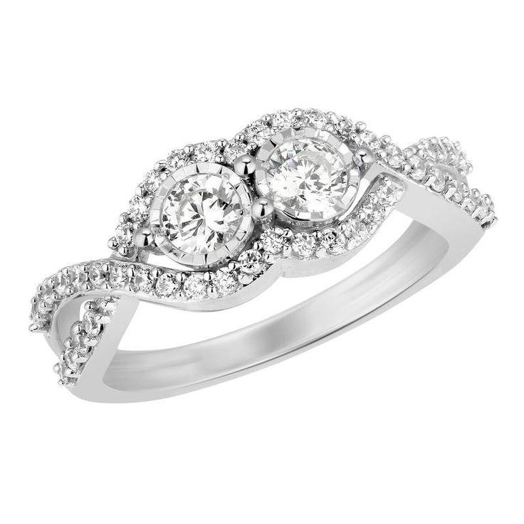 34cttw two stone diamond ring in14k wg