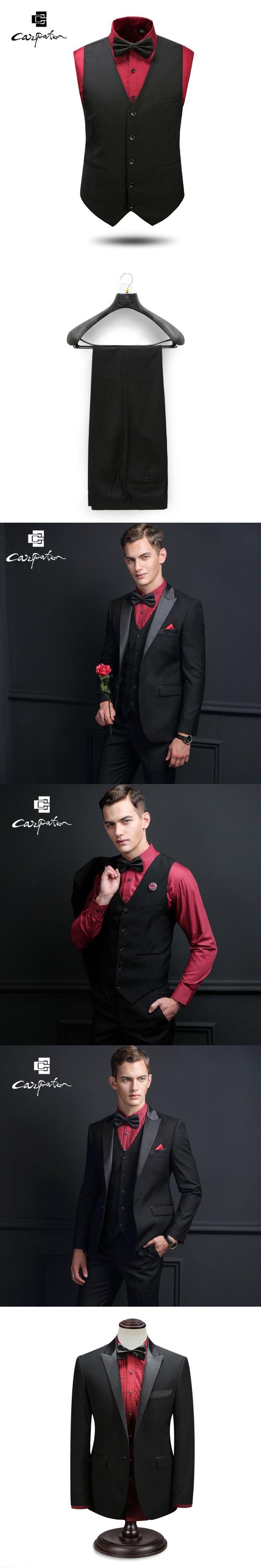 Carpaton Men Suit Black Wool Designer Three Piece Suit Brand The Peaked Lapel Tuxedo Large Size Grooms Wedding Suits For Men