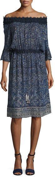Elie Tahari Blaine Off-the-Shoulder Floral Silk-Blend Dress