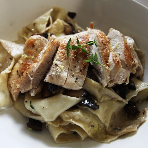 Bread and Sniff It : Fresh Parpadelle with Mushroom and Thyme Sauce