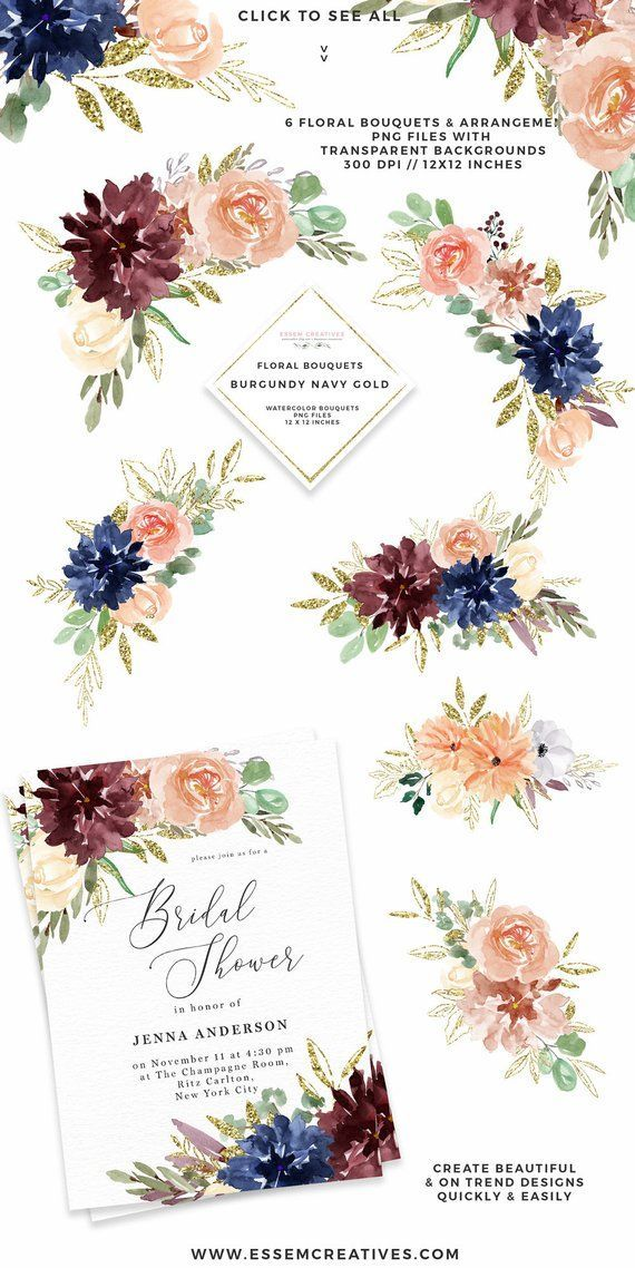 Watercolor Flowers Clipart Boho Fall Floral Bouquet Clipart Etsy Watercolor Flowers Floral Bouquets Gold Watercolor