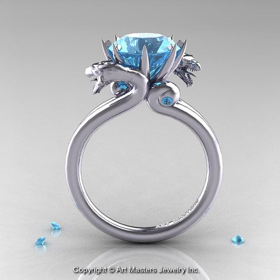 Art Masters 14K White Gold 3.0 Ct Aquamarine Dragon Engagement Ring R601-14KWGAQ