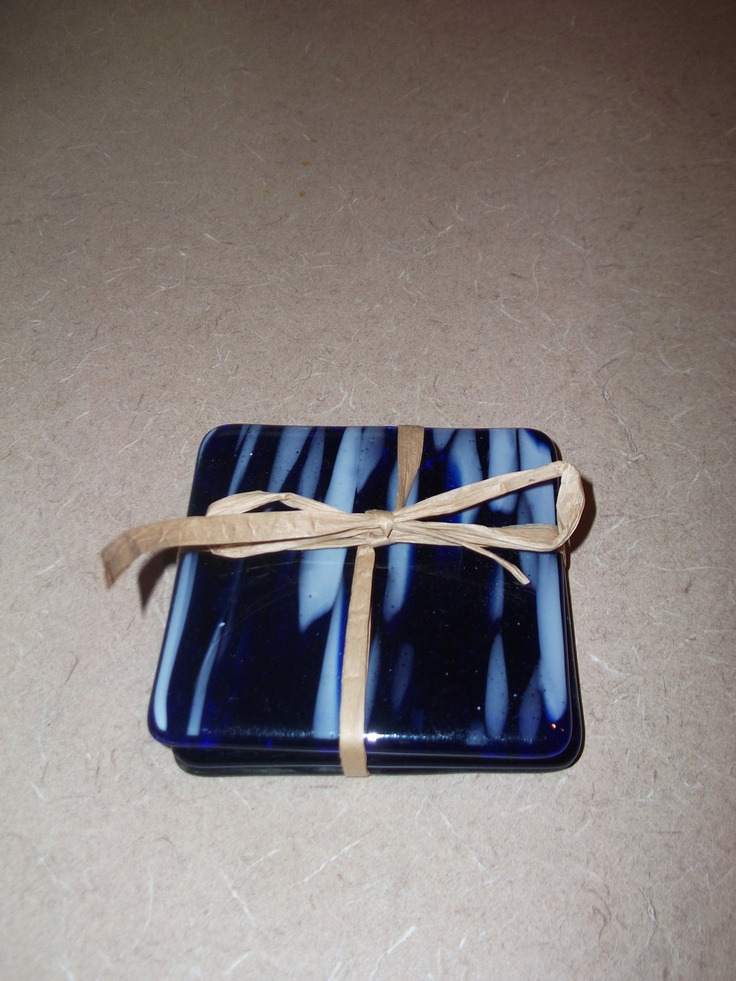 Coaster fused blue streak glass with cork feet. $18.00, via Etsy.