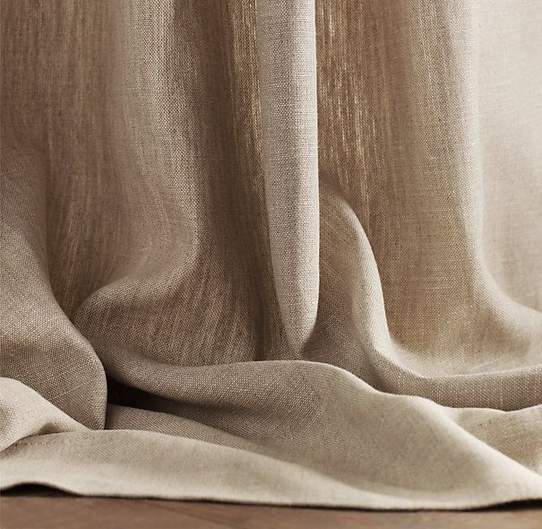Textured Belgian Linen Drapery - like the ease of opening/closing drapes in master. good to block light at night. drapes look pretty too - soften the space.