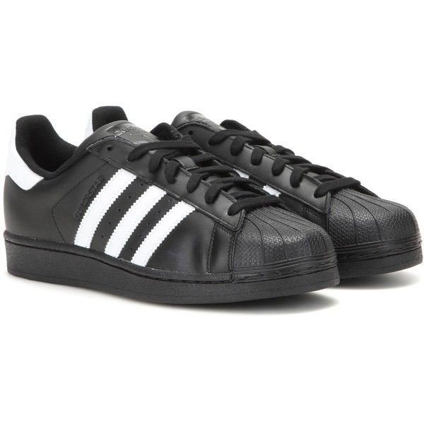 Adidas Superstar Foundation Leather Sneakers found on Polyvore featuring shoes, sneakers, adidas, sapatos, trainers, black, black shoes, leather footwear, black leather sneakers and black trainers