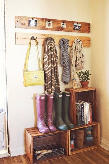 DIY your own mudroom in a tiny footprint with a few wine crates and coat hooks. | via @Gilda Anderson Anderson Locicero Therapy