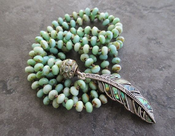 Knotted abalone feather long necklace  FeatherWeight di slashKnots, $147.00
