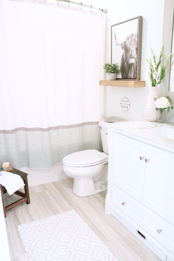 Modern Farmhouse Bathroom – How to style Small Bathroom for kids and guests. She…   – New House Projects/ Ideas