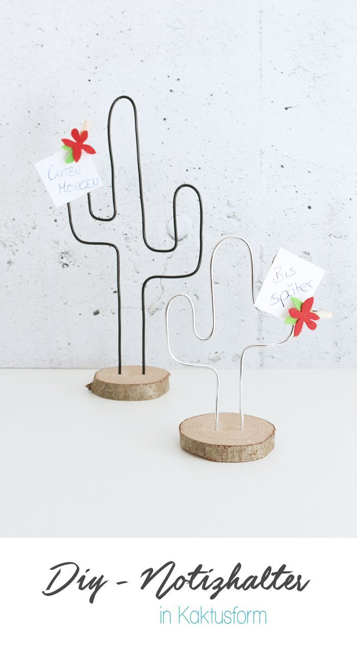 Dani von Gingered Things zeigt dir wie du aus Draht und Baumscheiben einen trendigen Notizhalter in Kaktusform für deinen Schreibtisch basteln kannst.