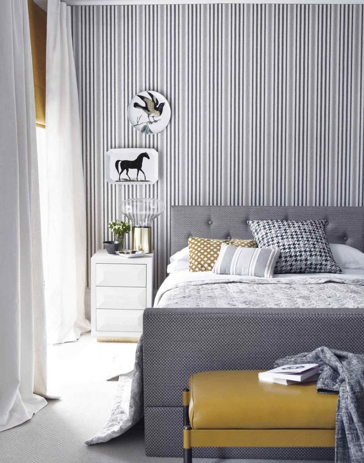 57 best bedroom ideas images on pinterest for Striped wallpaper bedroom designs