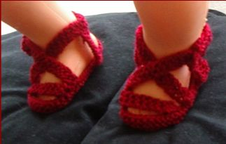 Knitting pattern for 8ply sling back baby sandals.