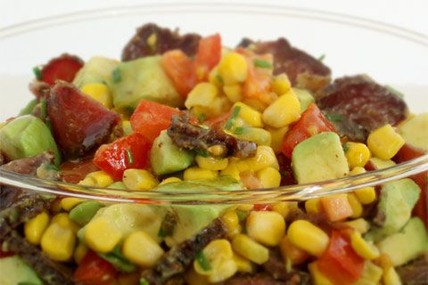 Corn, avocado, biltong and tomato salad | Rainbow Cooking