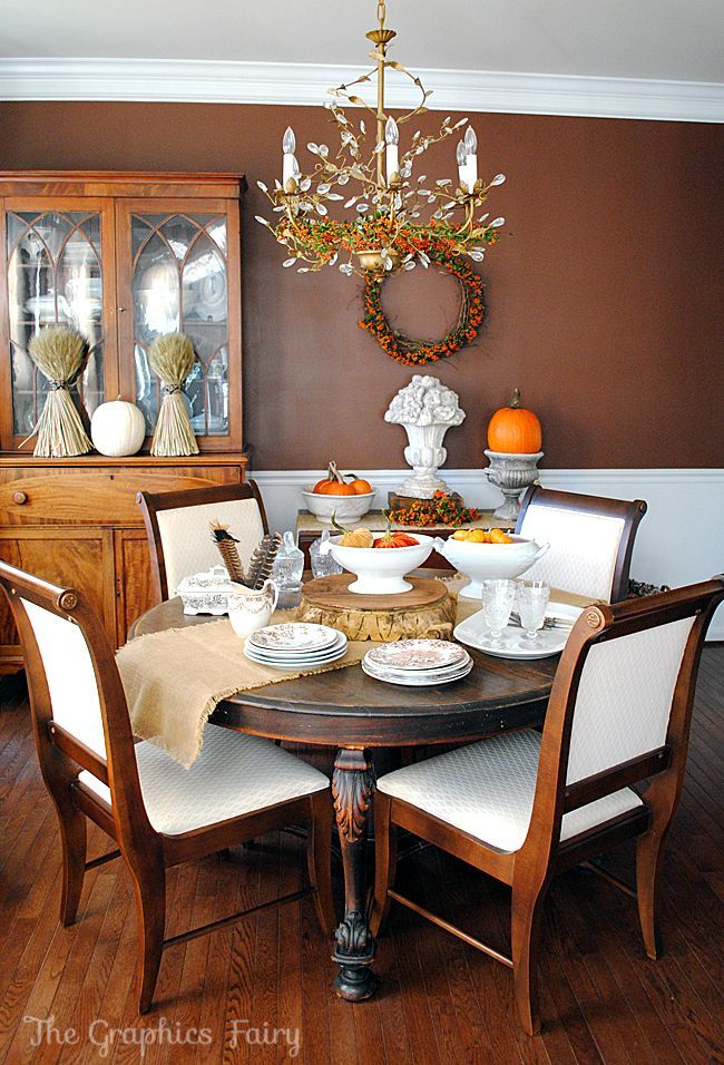 617 best tablescapes images on pinterest marriage for Dining room decorating ideas for thanksgiving