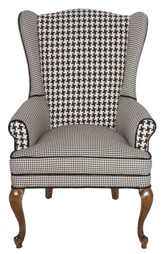 Houndstooth Wingback Armchair Vintage by JessicaAllynDesigns, $660.00