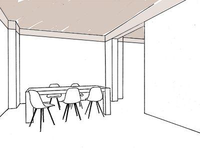Verbinden - Verbinden Wanneer je interieur bestaat uit twee aparte ruimtes kan je deze met elkaar in verbinding brengen. Niet alleen door de muur door te breken maar ook door middel van een kleurtje.  Schilder hiervoor het plafond en de bovenste rand van de muur in dezelfde kleur en trek dit door naar de volgende ruimte.