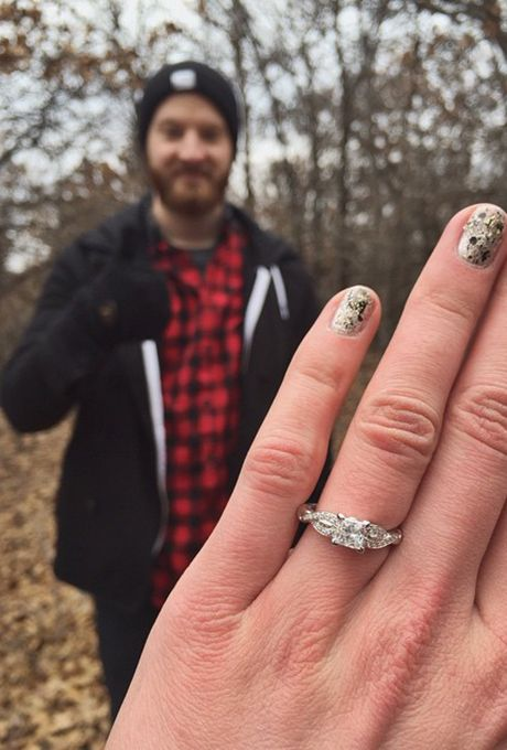 Brides.com: 32 Amazing Engagement-Ring Selfies A selfie with an Eiffel Tower backdrop.Photo: Stefanie Franke via Instagram