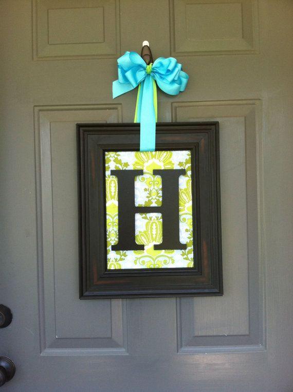 Door or Wall Art Monogram framed Initial Wreath on Etsy, $34.95