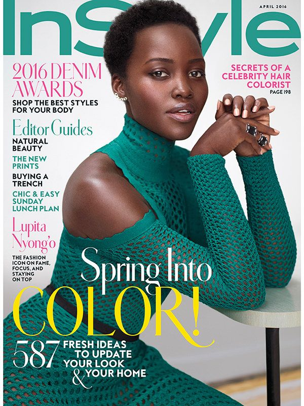 Lupita Nyong'o on the cover of the April 2016 issue of InStyle magazine in Christian Dior Fall 2016
