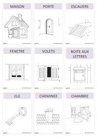 Imagier thématique : la maison Un imagier thématique proposant 59 cartes et affiches sur le thème de la maison (le salon, la chambre, la cuisine, la salle de bain, le jardin, le garage)