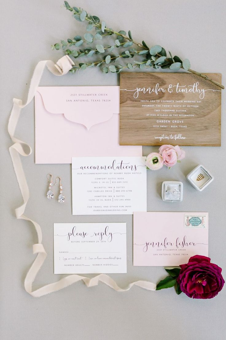 Blush rustic wedding stationary: Photography : Julie Wilhite Photography Read More on SMP: http://www.stylemepretty.com/texas-weddings/buda-texas/2016/12/19/rustic-elegant-texas-wedding-full-of-love/
