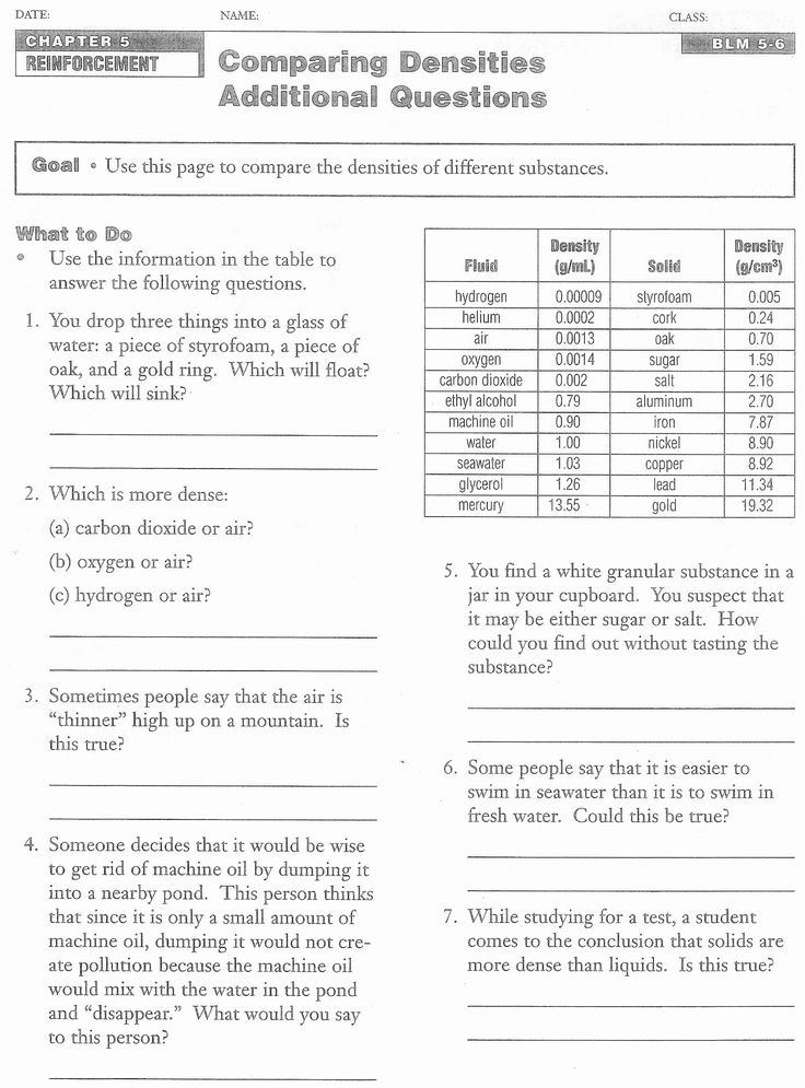 Density Calculations Worksheet Answer Key New 10 Best Of