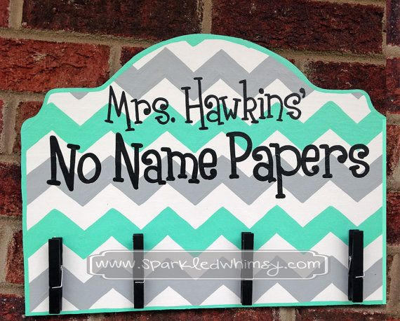 No Name Papers Sign for Classroom by SparkledWhimsy on Etsy, $32.00