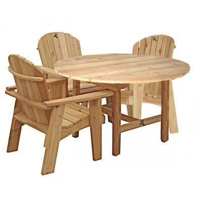 Garden Dining Set Finish: Green by Tree Frog Studio. $2735.00. DT101 Finish: Green Features: -Strong, long-lasting.-Requires no staining, sanding or special storage.-Leave this furniture outdoors in any season. all year.-Combines adirondack chair with the ease of access and practicality of a dining chair.-Made in United States. Specifications: -Made of 100pct Western red cedar.