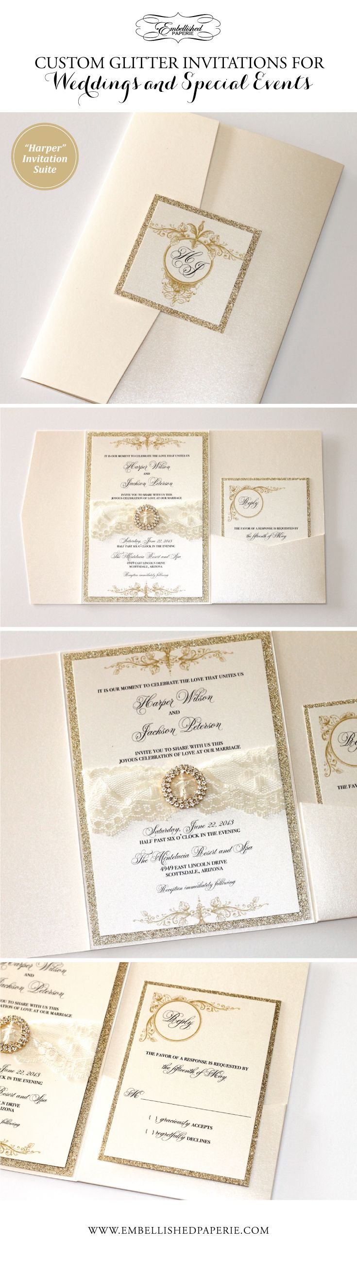 Vintage Lace Wedding Invitations with Gold Glitter.  Ivory metallic, Gold Glitter border, Embellished with Gold crystal buckle and Ivory lace. Elegant Pocket fold Invitation perfect for Weddings and Special Events.  Colors can be customized.  www.embellishedpaperie.com