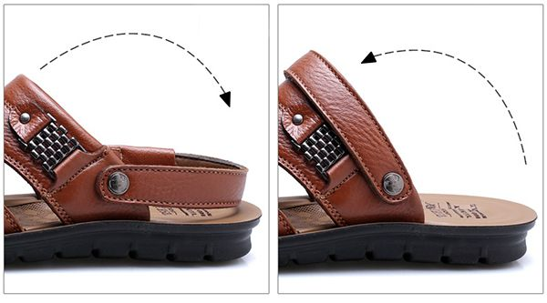 US Size 6.5-11.5 Men Genuine Leather Flat Sandals Beach Slippers Shoes