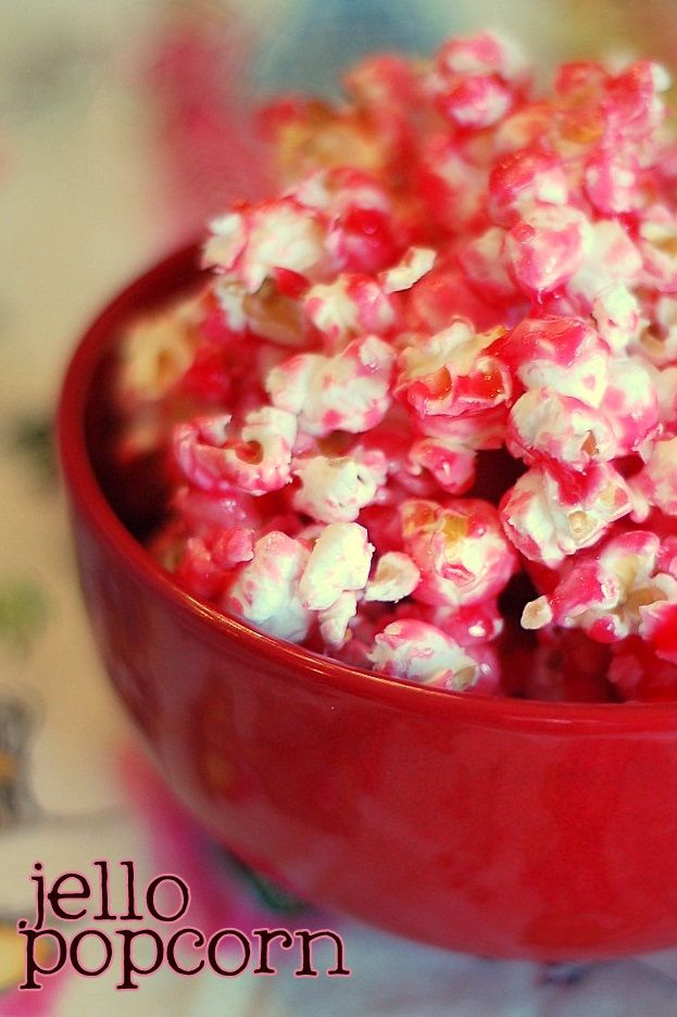 Jell-O Popcorn - use any flavor of Jell-O to make this sweet treat! Strawberry is perfect for a Valentine's Day.