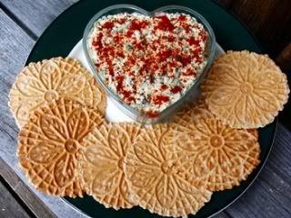 Big, Crispy, Whole Grain, Low-Fat Pizzelle Crackers w/Yummy Low-Fat Vegan Artichoke <3 & Spinach/Kale Dip