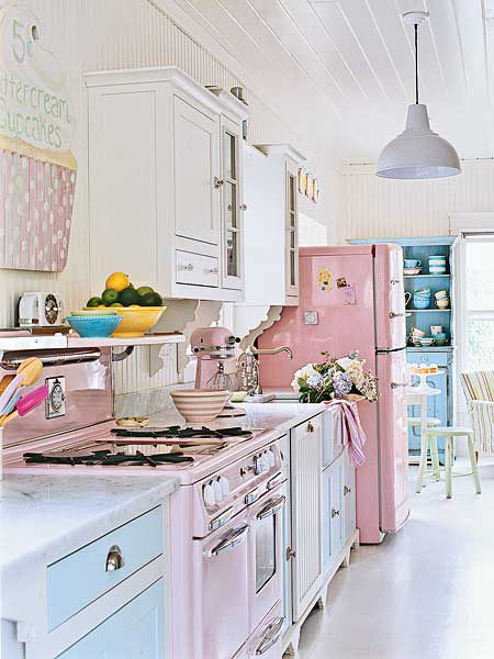 *Love this pastel kitchen~~so girly and sweet, that's why my husband would not like it~*~: Pastels, Dreams Kitchens, Idea, Vintage Kitchens, Pastel Kitchens, Shabby Chic Kitchens, Pink Kitchens, House, Retro Kitchens