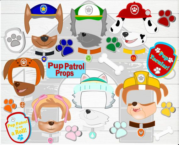 Pup Patrol Photo Props- Birthday Doggie Photo Props- Printable Pup Paw Patrol…
