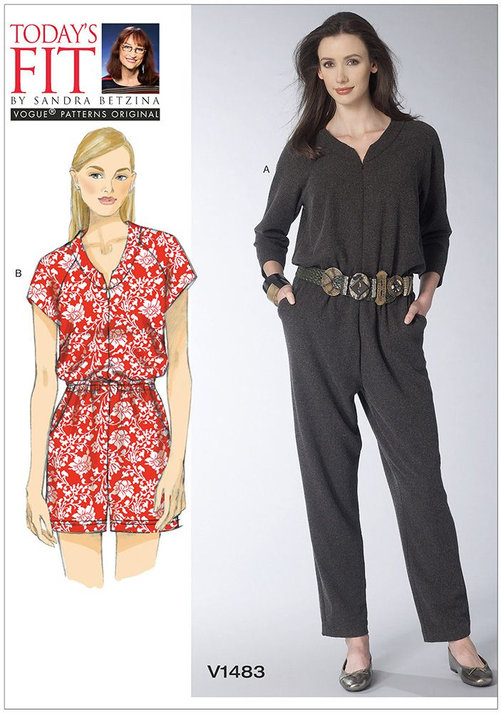 Misses Raglan-Sleeve Jumpsuit and Romper Vogue Sewing Pattern 1483. Size A-J.