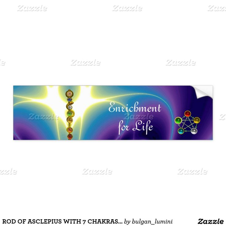ROD OF ASCLEPIUS WITH 7 CHAKRAS ,SPIRITUAL ENERGY CAR BUMPER STICKER