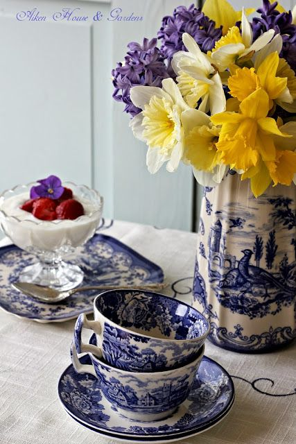 Blue Transferware Tea Cups with Yellow Daffodils, Blue and Yellow were made for each other. ~ Aiken House & Gardens: Spring Blue And White Transferware Tea