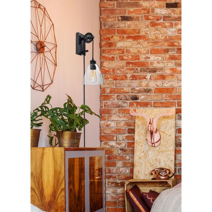 Manor Brook Pulley 1-Light Oil Rubbed Bronze Plug-in Wall ...