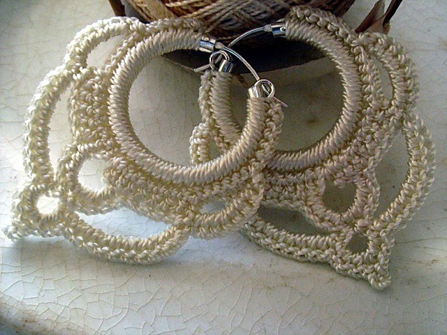 Earrings Sterling Silver Hoops Crocheted in Pearl Ivory. $20.00, via Etsy. I can't believe how beautiful these are!!