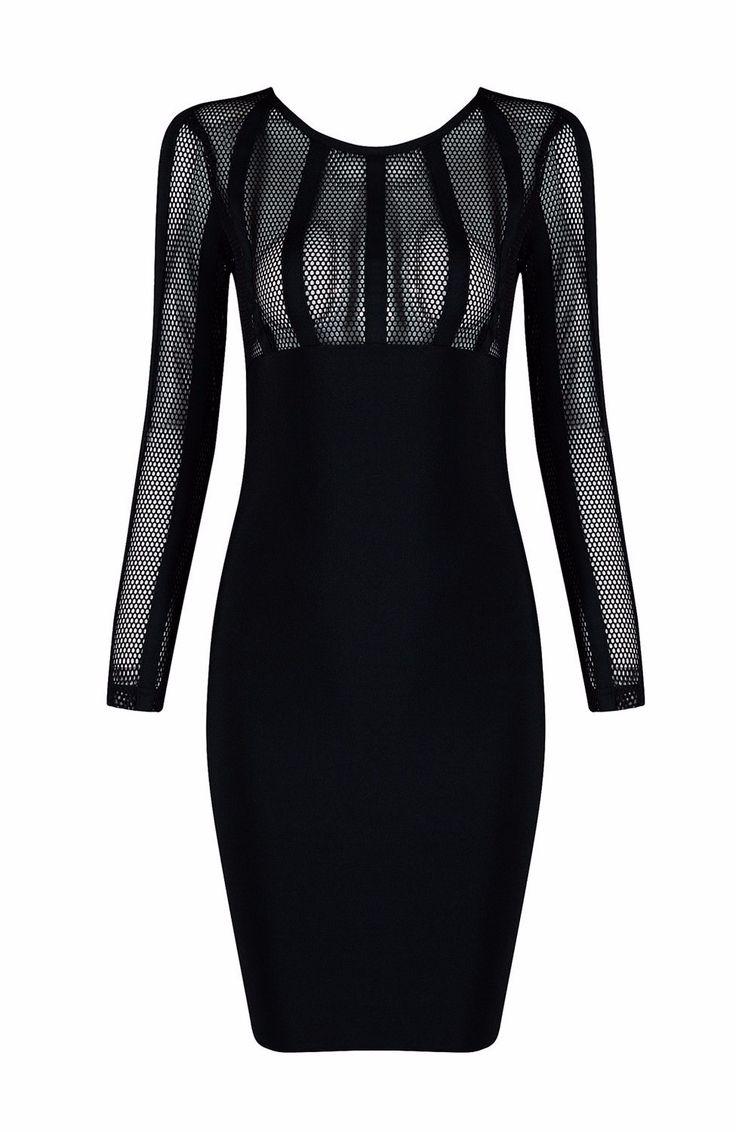 'Robyn' Black Mesh Bandage Dress