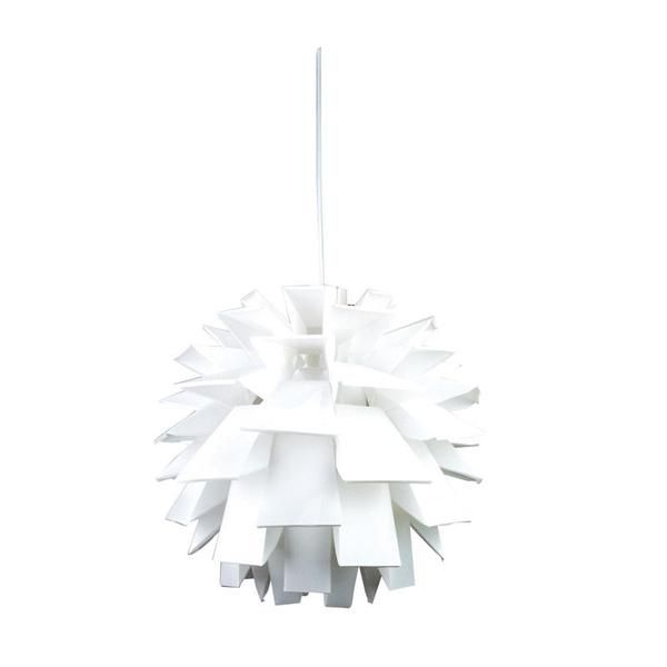 Description: • Poly-propylene pendant with a brushed chrome canopy and white cord suspension. • Ideal for use with a compact fluorescent bulb, available for pur
