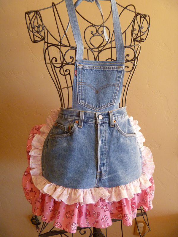 Avental com jeans custumizado!! Show!