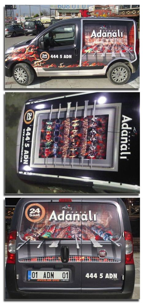 This 3D vehicle graphic was designed and installed on all the delivery vans of Adanali restaurants and this time around we also did the roof top as showcased in the picture to promote it's turkish cuisines across Turkey.