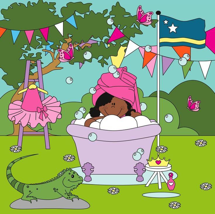 Curacao! Prinsesje in bad met aan haar zijde een leguaan!